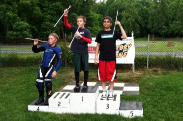 Podium with sugar stick trophies!