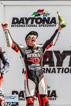 Danny Eslick with a well deserved win for the Daytona 200 on his Riders Discount Triumph.